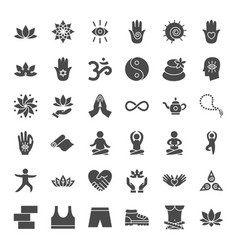 yoga solid web icons vector image