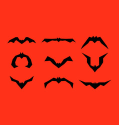 set of different bats isolated on red vector image