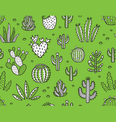 succulent boho seamless pattern vector image vector image