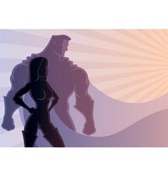 Superhero Couple 3 vector image