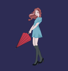 beautiful young girl holding red umbrella vector image
