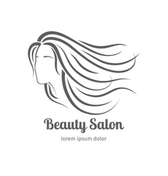 Beauty salon icon with girl face silhouette vector image