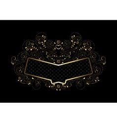 Gold frame in gold openwork floral framing vector