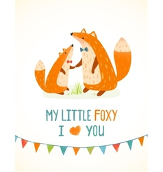 Mother or Father Fox and Foxy Child Cartoon vector image