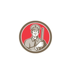 Policeman With Night Stick Baton Circle Retro vector image vector image