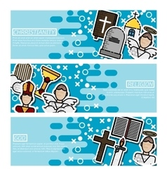 Set of Horizontal Banners about Christianity vector image