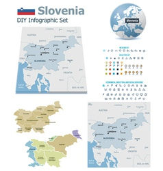 Slovenia maps with markers vector