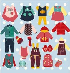 winter-clothes-baby-set vector image vector image