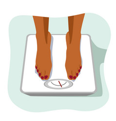 African american woman standing on weight scale vector