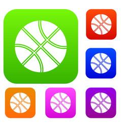 basketball ball set collection vector image vector image