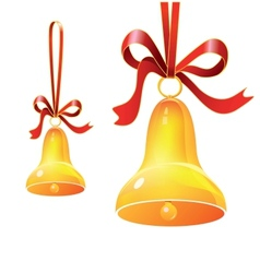 Christmas bell with red ribbon vector image vector image