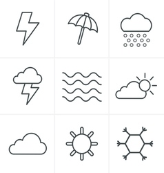 Line Icons Style weather Icons Set Design vector image