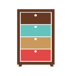small commode with colorful boxes vector image