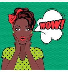 WOW bubble pop art woman face vector image vector image