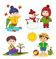 boy and the four seasons vector image