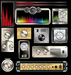 Control panel with volume knob and equalizers vector image vector image