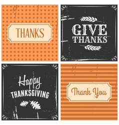 Retro style thanksgiving greeting cards set vector