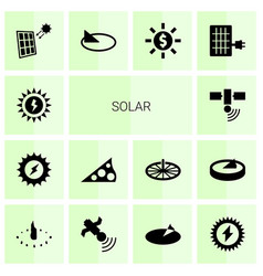 14 solar icons vector