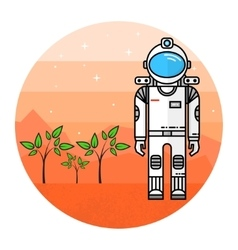 Astronaut grow plants on Mars vector image