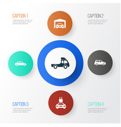 auto icons set collection of van car automobile vector image
