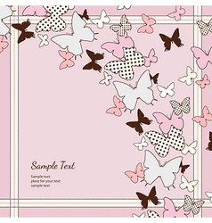 Background pink butterflies vector