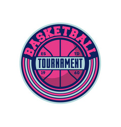 basketball tournament vintage isolated label vector image vector image