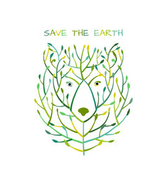 bear face made from tree save earth concept vector image