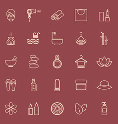Beauty line color icons on red background vector
