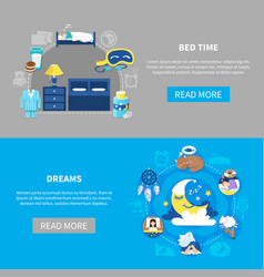 Bedtime dreams 2 flat banners vector