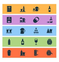 beverages icons set with ale mug bottle of wine vector image