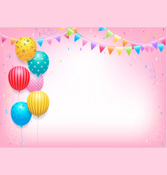 Birthday banner card frame template with colorful vector