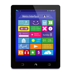 Black tablet PC with metro icons on display vector image