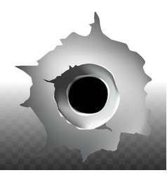 Bullet shot hole on transparent background vector