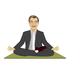Calm businessman meditating in lotus pose vector
