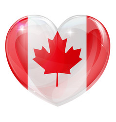 canada flag love heart vector image