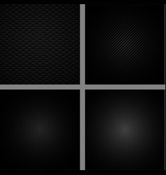 carbon fiber background set vector image vector image