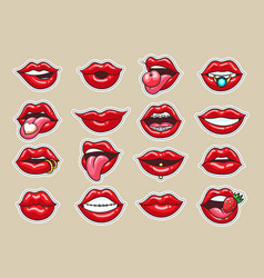 Cartoon lips stickers vector