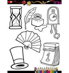 Cartoon retro objects coloring page vector