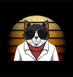 cat fashion sunset retro vector image