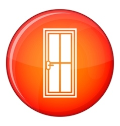 Closed wooden door icon flat style vector
