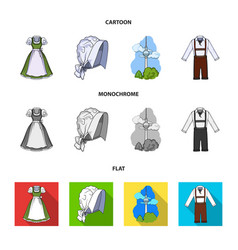 Country germany cartoonflatmonochrome icons in vector