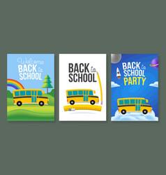 cute cartoon school bus poster template set back vector image