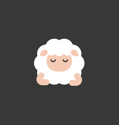 cute cartoon sleeping sheep front view flat design vector image