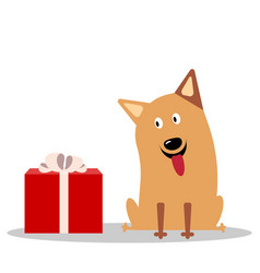cute cheerful cartoon dog vector image