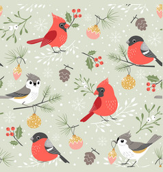 Cute winter bird christmas pattern vector