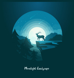 deer or elk moose on cliff at midnight landscape vector image