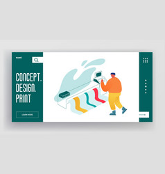 Designer using widescreen offset printing machine vector