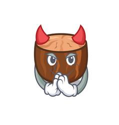 Devil nutmeg mascot cartoon style vector