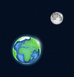 Earth and moon system in space vector