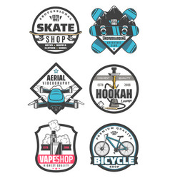 entertainment icons hookah skate shop snowboarding vector image